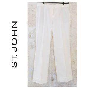 ST JOHN {12} Pants with Cuffs White